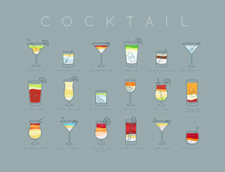 Cocktails menu with glass design