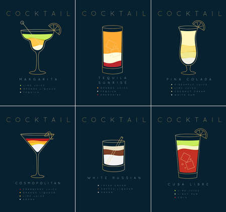 Set of flat cocktail posters margarita, tequila sunrise, pina colada, cosmopolitan, white russian, cuba libre drawing on dark blue background Ilustração