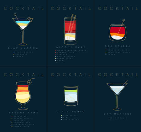 Set of flat cocktail posters blue lagoon, bloody mary, sea breese, gin and tonic, dry martini drawing on dark blue background