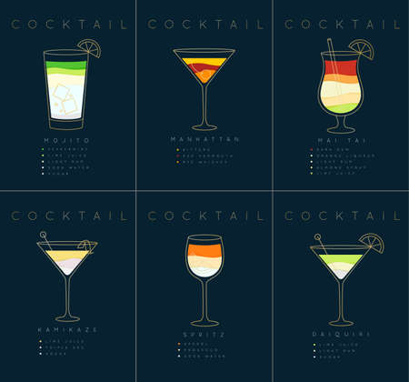 Set of flat cocktail posters mojito, manhattan, mai tai, kamikaze, spritz, daiquiri drawing on dark blue background