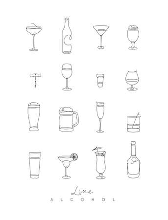 Alcohol icons hand drawing with pen lines on white background.