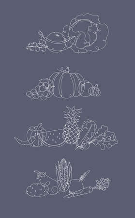 Fruits and vegetables mix illustration in pen hand drawing lines style on grey background