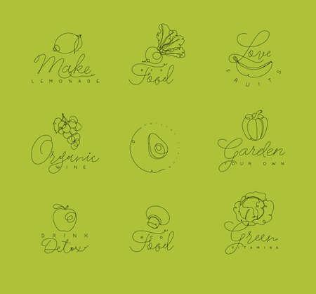 緑の背景にペンの手描画線のスタイルでレタリングと果物や野菜のシンボル