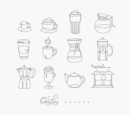 Coffee line icons in pen hand drawing style on white background Çizim