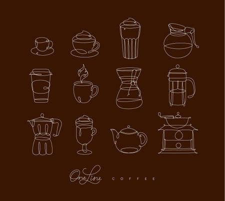 茶色の背景にペン手の描画スタイルのコーヒーラインアイコン  イラスト・ベクター素材