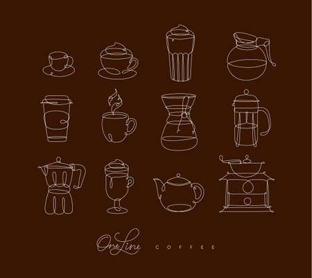 Coffee line icons in pen hand drawing style on brown background Çizim