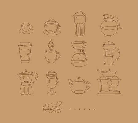 ベージュの背景にペンハンド描画スタイルのコーヒーラインアイコン