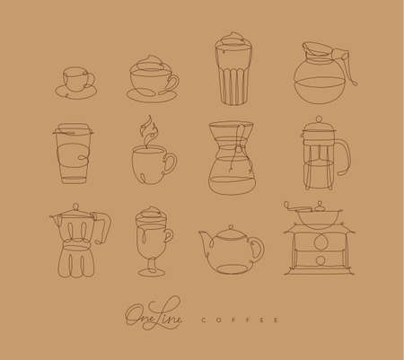 Coffee line icons in pen hand drawing style on beige background