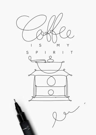 Coffee poster with hand drawing style lettering of coffee is my spirit on white background