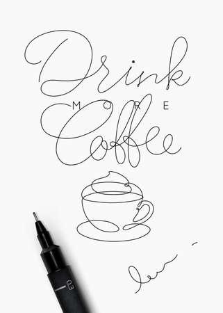 手描きスタイルのレタリング付きコーヒーポスターは、白い背景にコーヒーを飲む  イラスト・ベクター素材