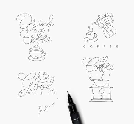 Coffee symbols lines with lettering in pen hand drawing style on white background