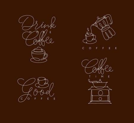 茶色の背景にペンハンド描画スタイルのレタリング付きのコーヒーシンボルライン  イラスト・ベクター素材