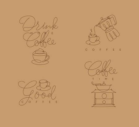 ベージュの背景にペンハンド描画スタイルでレタリング付きのコーヒーシンボルライン