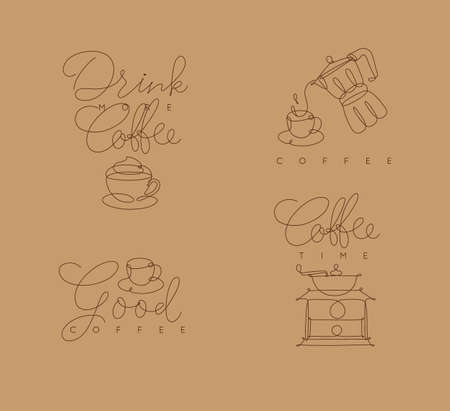 Coffee symbols lines with lettering in pen hand drawing style on beige background