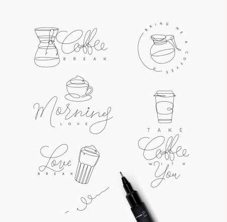 白い背景にペンハンド描画スタイルのレタリングを持つコーヒー要素のライン  イラスト・ベクター素材