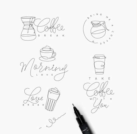 Coffee elements lines with lettering in pen hand drawing style on white background