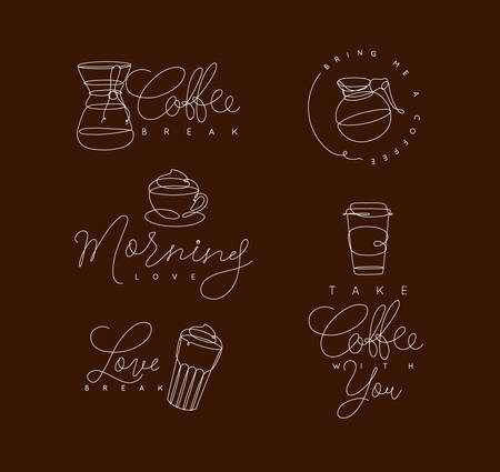 Coffee elements lines with lettering in pen hand drawing style on brown background