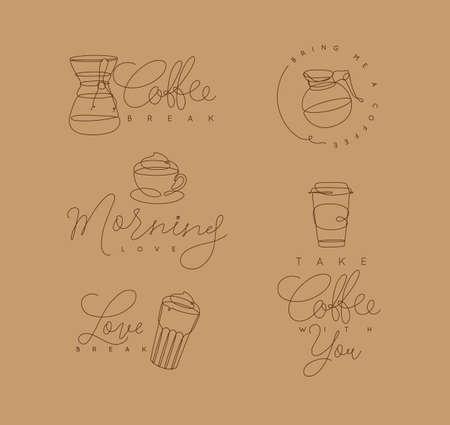 ベージュの背景にペンハンド描画スタイルでレタリング付きのコーヒー要素のライン