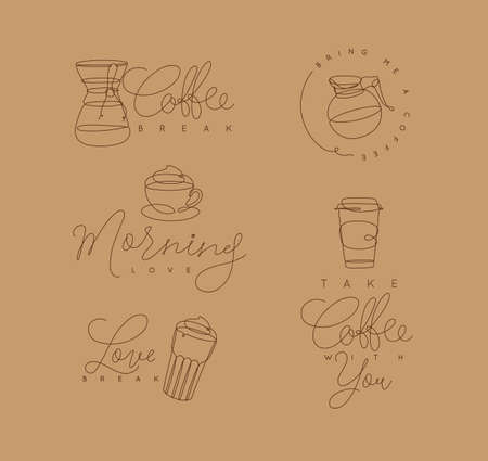 Coffee elements lines with lettering in pen hand drawing style on beige background Çizim