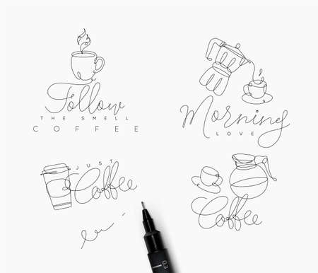 Coffee signs lines with lettering in pen hand drawing style on white background Illustration