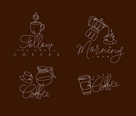 Coffee signs lines with lettering in pen hand drawing style on brown background Çizim
