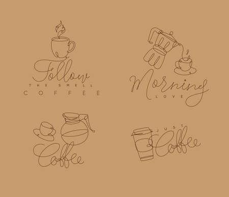 コーヒーはベージュの背景にペンハンド描画スタイルでレタリングで行に署名