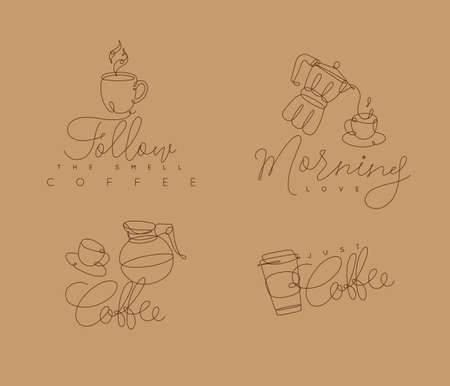 Coffee signs lines with lettering in pen hand drawing style on beige background Çizim
