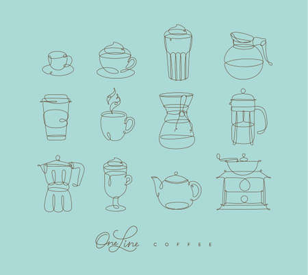 Coffee icons in pen hand drawing lines style on turquoise backdrop
