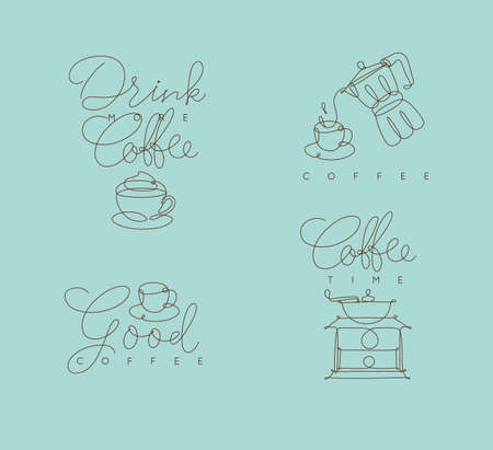 Coffee symbols lines with lettering in pen hand drawing style on turquoise backdrop
