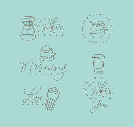 Coffee elements lines with lettering in pen hand drawing style on turquoise background. Stock Illustratie