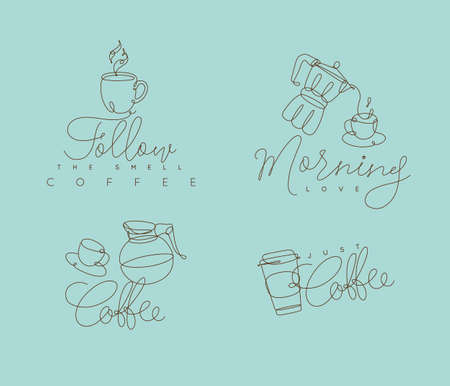 Coffee signs lines with lettering in pen hand drawing style on turquoise backdrop