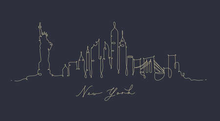 City silhouette new york in pen line style drawing with beige lines on dark blue background Vettoriali