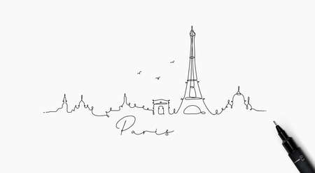 City silhouette paris in pen line style drawing with black lines on white background