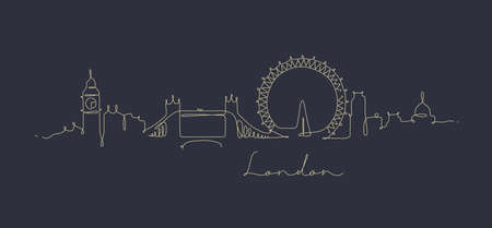 City silhouette london in pen line style drawing with beige lines on dark blue background