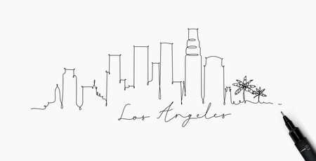 Sylwetka miasta los angeles w stylu linii pióra rysunek z czarnymi liniami na białym tle Ilustracje wektorowe