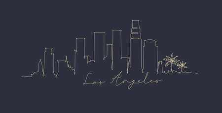 City silhouette los angeles in pen line style drawing with beige lines on dark blue background 일러스트