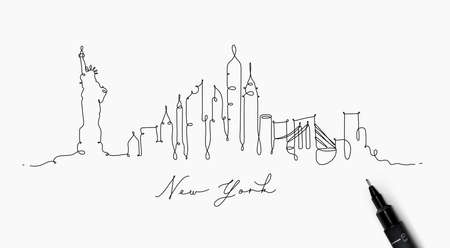 City silhouette new york in pen line style drawing with black lines on white background
