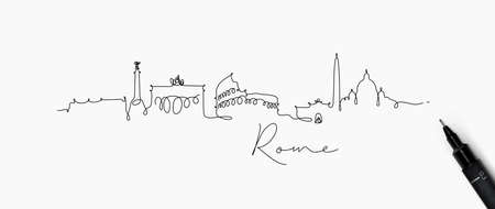 City silhouette Rome in pen line style drawing with black lines on white background Vettoriali