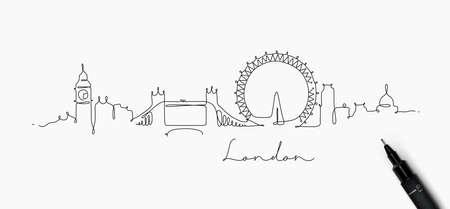Stadssilhouet Londen in de stijltekening van de penlijn met zwarte lijnen op witte achtergrond