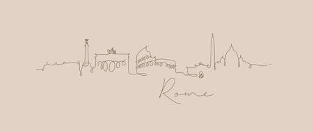 City silhouette rome in pen line style drawing with brown lines on beige background Çizim