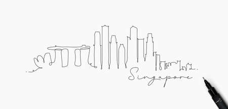 City silhouette singapore in pen line style drawing with black lines on white background