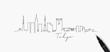 City silhouette tokyo in pen line style drawing with black lines on white background Stock Illustratie