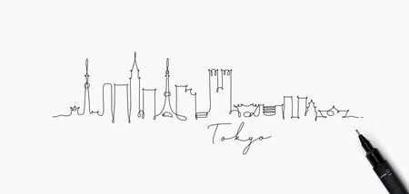 Stadssilhouet Tokyo in de stijltekening van de penlijn met zwarte lijnen op witte achtergrond