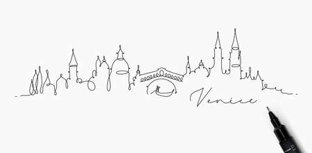 City silhouette venice in pen line style drawing with black lines on white background