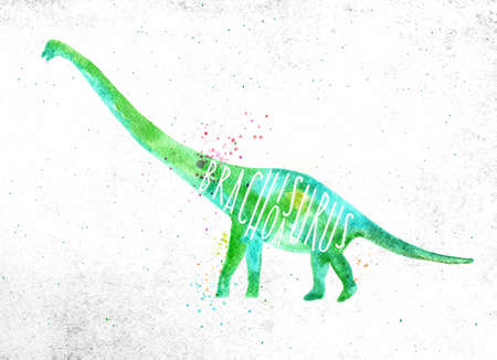 Dynosaur poster lettering brachiosaurus drawing with color, vivid paint on dirty paper background.