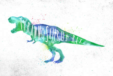 Dinosaur poster lettering tyranosaurus rex drawing with color, vivid paint on dirty paper background. Archivio Fotografico - 100523303