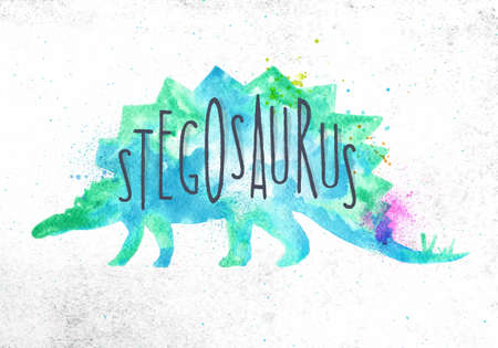 Dinosaur poster lettering stegosaurus drawing with color, vivid paint on dirty paper background.