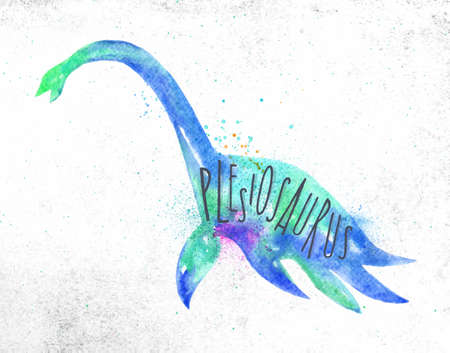 Dinosaur poster lettering plesiosaurus drawing with color, vivid paint on dirty paper background.