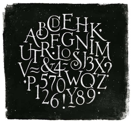 Vintage font in retro style drawing with chalk on chalkboard background.