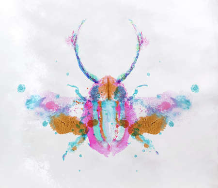 Monotype vivid colorful beetle drawing with different colors on paper background